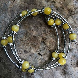 💖Yellow Jasper Beaded Bracelet; Crystal Rondels💗